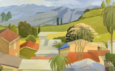 Celia Reisman, Bess's Roofs, oil on canva,s 26 x 32 inches, 2014 (courtesy of th