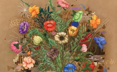 (detail) Roland Reiss, Fleurs de Mal #2, 2008, water media on canvas, 68 x 52 in