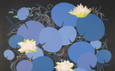 (detail) Roland Reiss, Lilies In Blue, 2014, 44 x 44 inches, oil and acrylic on