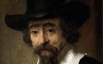(detail) Rembrandt, Portrait of Dr. Ephraïm Bueno, oil on panel, 19 × 15 cm (Rij