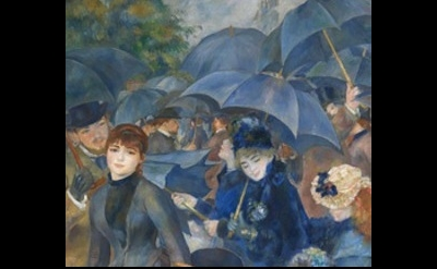 (detail) Pierre-Auguste Renoir, The Umbrellas, c. 1881 and 1885, Oil on canvas,