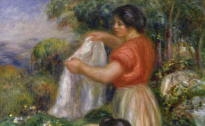 (detail) Pierre Auguste Renoir, Les Laveuses, c. 1912, oil on canvas, 25-3/4 x 21-1/2 inches (Hammer Galleries, New York)