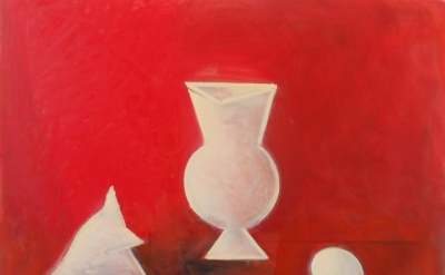 Paul Resika, Red Pompeii, 2015-16, oil on canvas, 30 x 40 inches (courtesy of Lo