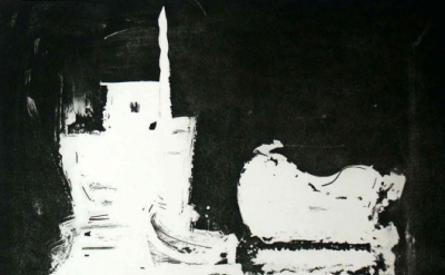 Paul Resika, Vessels Meeting, 2001, etching, 20 x 25 inches (courtesy VanDeb Edi