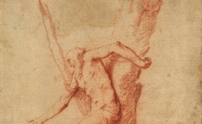 (detail) Jusepe de Ribera (lo Spagnoletto), Man tied to a tree, and a figure res