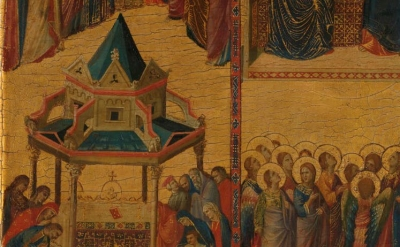 (detail) Giovanni da Rimini, Scenes from the Lives of the Virgin and other Saints, c. 1300-05, (courtesy of the National Gallery, London)