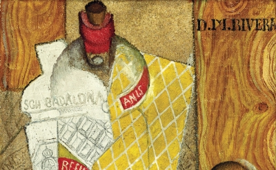 (detail) Diego Rivera, Cubist Composition (Still Life With Bottle of Anis and Inkwell) (Marc Domage / FABA)