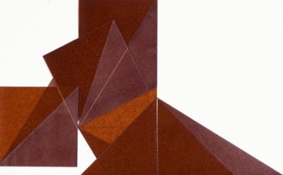 (detail) Dorothea Rockburne, Roman VI, 1977, kraft paper, copal oil varnish, blu