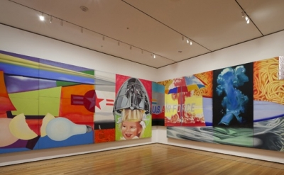 Installation view of James Rosenquist: F-111 (1964-65) at MoMA. Oil on canvas wi