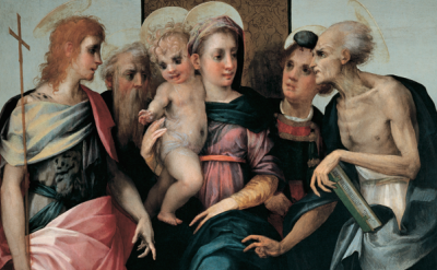 (detail) Rosso Fiorentino, Madonna and Child With Four Saints (Spedalingo Altarp