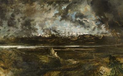 (detail) Théodore Rousseau, Mont Blanc Seen from La Faucille, Storm Effect, begun 1834 (Ny Carlsberg Glyptotek, Copenhagen)