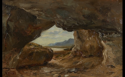 Théodore Rousseau, Grotto Under the Cliffs, Near Port-en-Bessin, 1831 (Private c