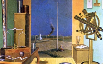 (detail) Pierre Roy, Metric System, 1933, oil on canvas, 57 5/8 x 39 inches (Philadelphia Museum of Art)