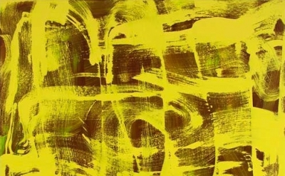 (detail) Anne Russinof, Yellow Twist, 36 x 36 inches, 2013 (courtesy of the arti