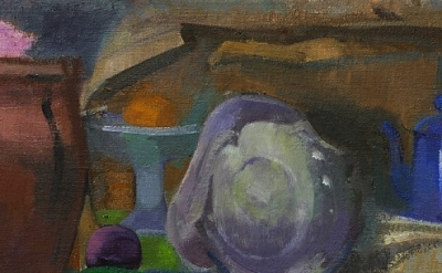 (detail) Ruth Miller, Shell, Blue Coffee Pot, oil on linen, 16 x 22 inches, 2011