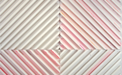 (detail) Cordy Ryman, Rouge 45, 2014, enamel, acrylic and shellac on wood, 96 x