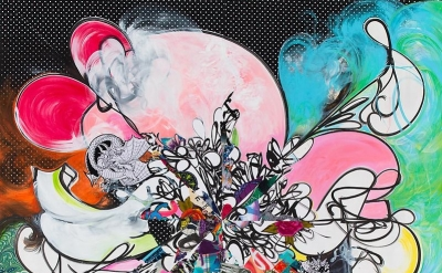 (detail) Shinique Smith, Gravity of Love, 2013, ink, acrylic, paper and fabric c