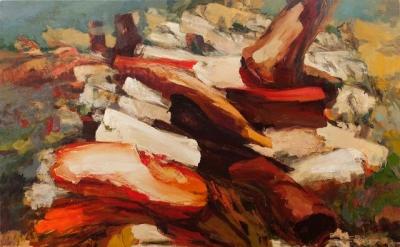 Dana Saulnier, Stack Series Two, oil on canvas, 70 x87.5 inches, 2013 (courtesy