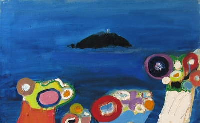 Edith Schloss, Untitled (Isola del Tino), 1966, oil on canvas, 19.7 x 23.6 inche