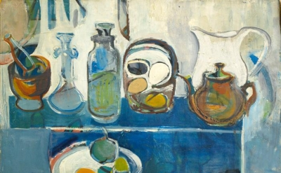 Edith Schloss, Still Life, 1951, oil on canvas, 16 x 19.9 inches (courtesy of Su