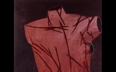 (detail) Julian Schnabel, St. Sebastian, 1979, oil and wax on canvas, 111 x 66 i