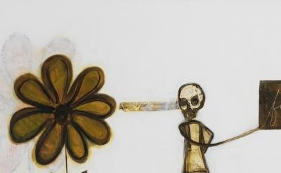 (detail) Mira Schor, Death Is A Conceptual Artist, 2015, oil on linen, 24 x 45 i