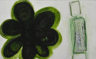 Mira Schor, Dark Flower, 2013, oil on linen, 12 x 16 inches (courtesy of the art