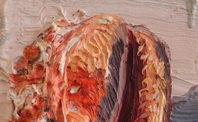 (detail) Allison Schulnik, Small Shell, 2012, Oil on canvas stretched over board