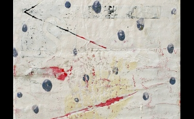 (detail) Ward Schumaker, Blue Dot, collage, 10 x 6 inches, 2012 (courtesy of the