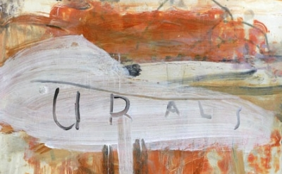 (detail) Ward Schumaker, The Urals (mixed media on paper on wood) 30 x 22 inches