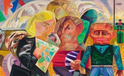 (detail) Dana Schutz, Swiss Family Traveling, 2015, oil on canvas (courtesy of P