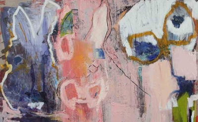 (detail) Karen Schwartz, Down The Rabbit Hole, 72 x 60 inches, mixed media on li