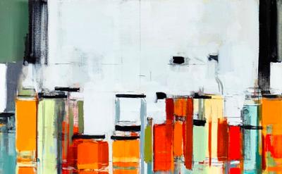 (detail) Peri Schwartz, Bottles and Jars XXXIII, oil on canvas, 2013 (courtesy o