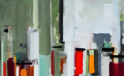 Peri Schwartz, Bottles & Jars XII, 2011, 20 × 30 inches, oil on canvas (courtesy