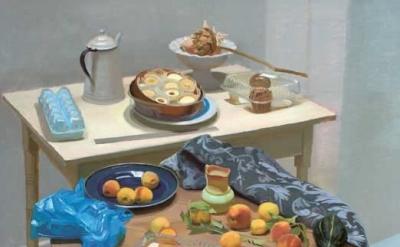 (detail) Scott Noel, Still Life with Street Peaches, oil on linen, 46 x 42 inche