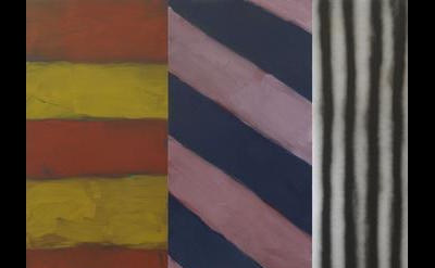 (detail) Sean Scully, Blue Note, 2016, oil and acrylic spray on aluminum, 10 x 320 inches (courtesy of Cheim & Read)