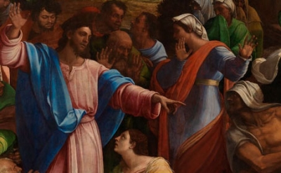 (detail) Sebastiano del Piombo, incorporating designs by Michelangelo. The Raising of Lazarus, 1517-19. Oil on synthetic panel, transferred from wood, 381 x 289.6 cm (© The National Gallery, London)