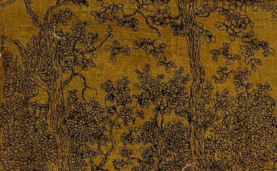 (detail) Hercules Segers, Small Wooded Landscape with a Road and a House, ca. 1618-22, Line etching printed on linen with a dark yellow ground, 6 in. × 3 3/4 inches (British Museum, London)