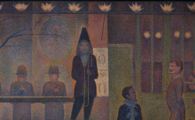 (detail) Georges Seurat, Circus Sideshow (Parade de cirque), 1887–88, oil on canvas, 39 1/4 x 59 inches (The Metropolitan Museum of Art, New York Bequest of Stephen C. Clark, 1960)