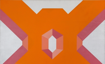 Miriam Schapiro, Big Ox, 1967, acrylic on canvas, 72 x 80 inches (The Estate of