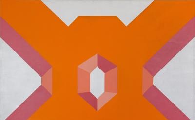 Miriam Schapiro, Big Ox, 1967, acrylic on canvas, 72 x 80 inches (The Estate of