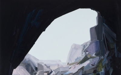 (detail) Claire Sherman, Cave, 2015, oil on canvas, 96 x 78 inches (courtesy of