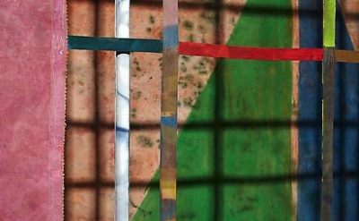 (detail) Alan Shields, Maze, 1981-82, acrylic and thread on canvas, cotton belti