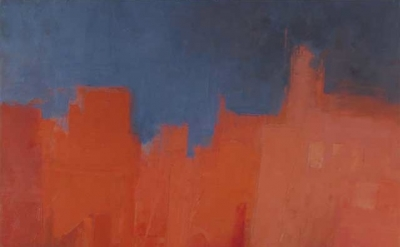 (detail) Stuart Shils, edge of the city before a storm, 36 x 36 inches