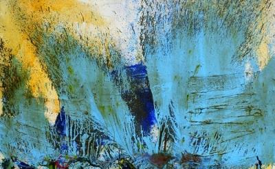 (detail) Shozo Shimamoto, Bottle Crash, 1962, Glass and paint on canvas, 63 3/4