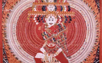(detail) Shiva Vishvarupa, Nepal, 19th century, mineral pigment on cloth (Rubin