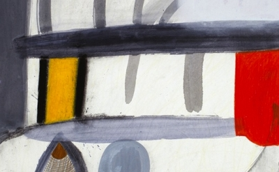 (detail) Amy Sillman, A Shape that Stands Up and Listens 26, 2012, gouache, char