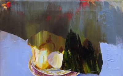 Judith Simonian, Fruit On Blue Table, 2013, acrylic on canvas, 11 x 15.75 inches