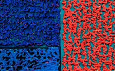 (detail) Louise P. Sloane, Bluebluecrl (Bounce), 2012, 60 x 48 inches, acrylic o