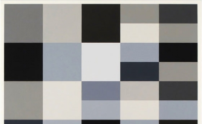 (detail) Cary Smith, Grey Blocks #21, 2012, oil on linen, 31 x 31 inches (courte